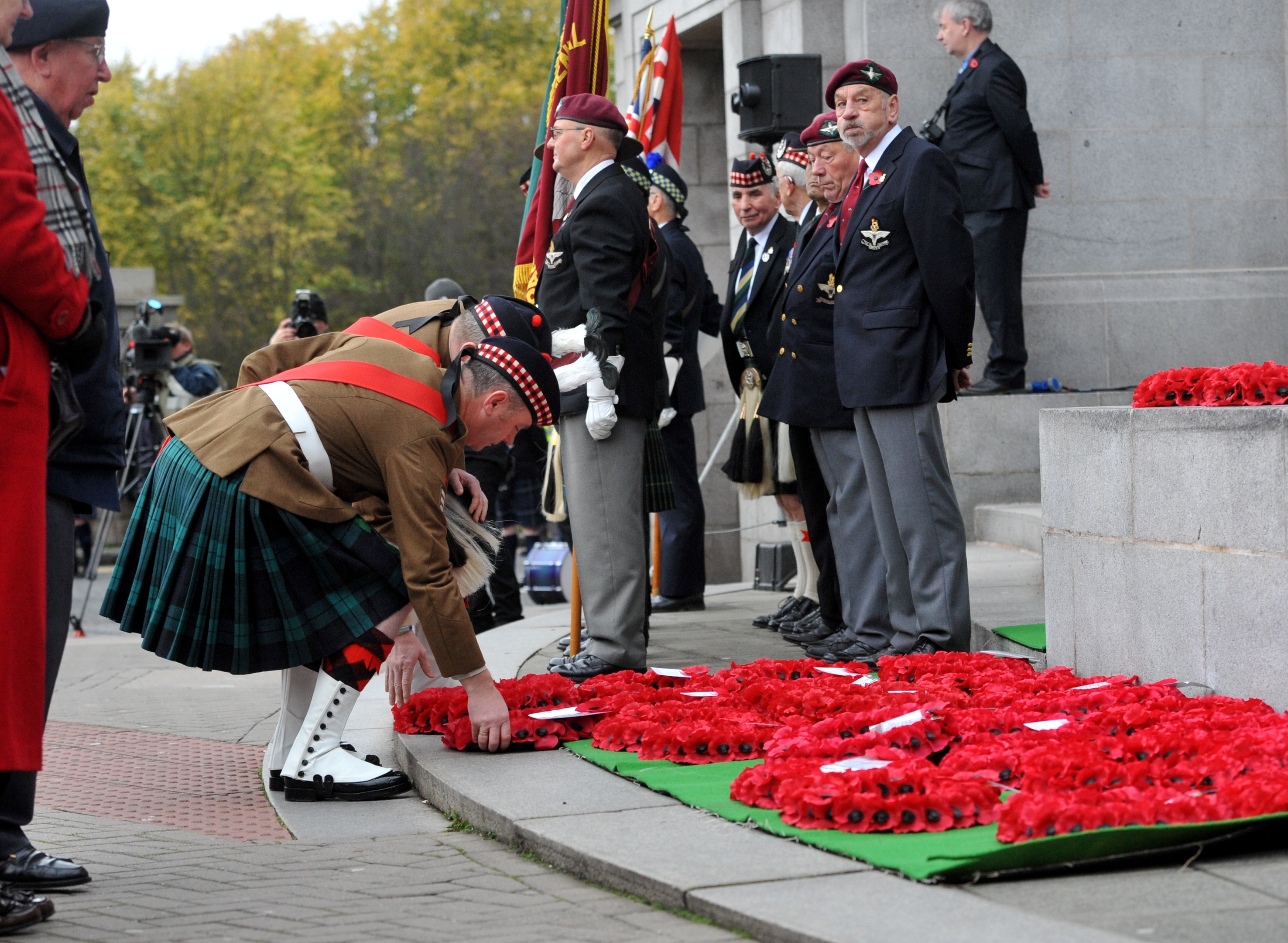 Remembrance Sunday Parade from Marischal College and Service at Aberdeen War Memorial, Cowdray Hall. 8th November 2015. Picture by KATH FLANNERY