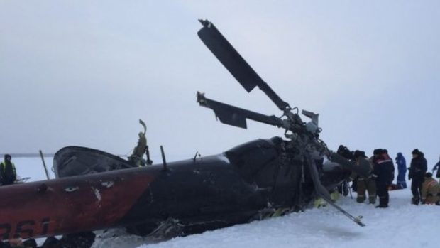 The crashed civilian Mi-8 helicopter