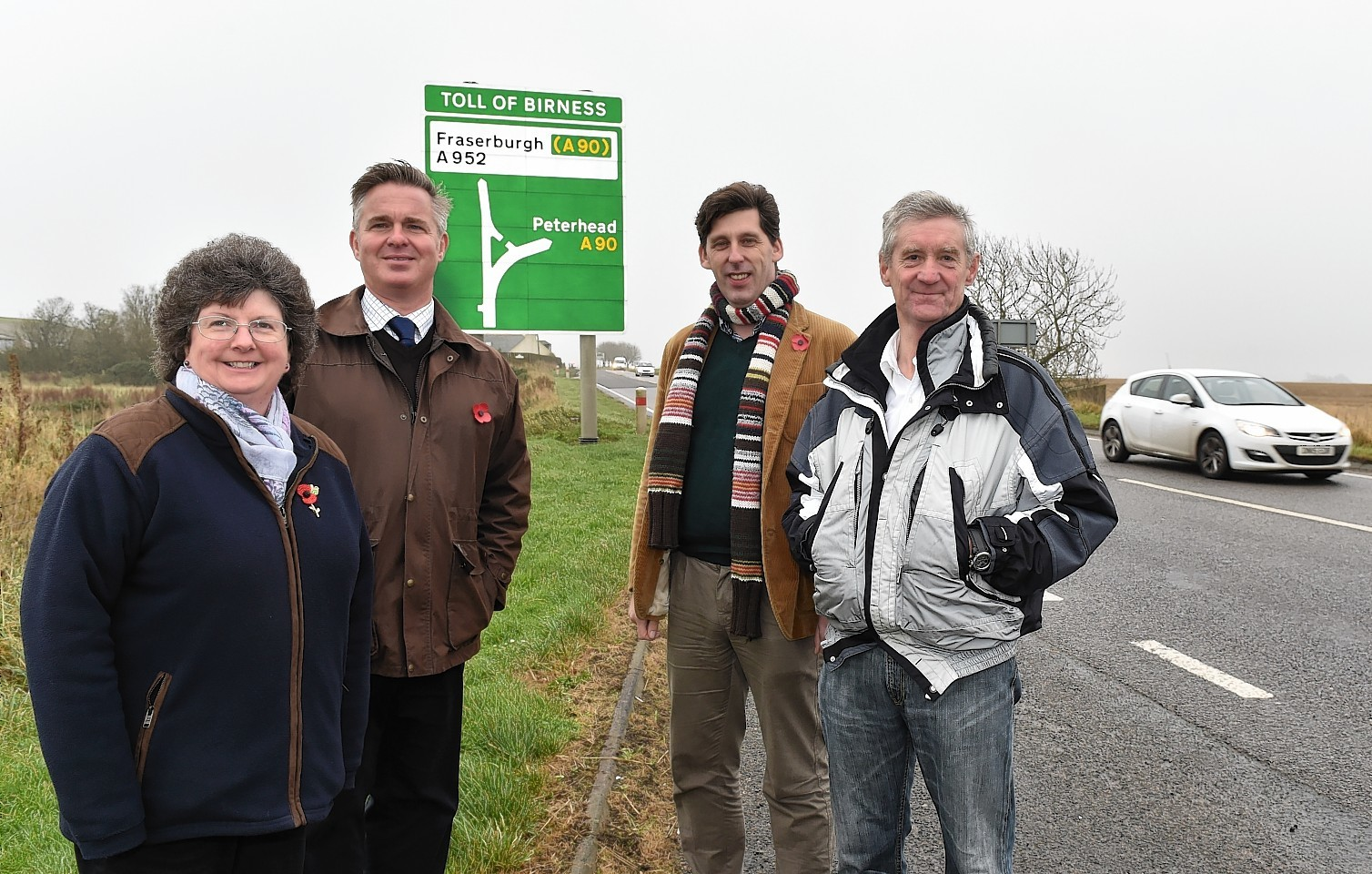 Councillors on the A90 heading up to Ellon