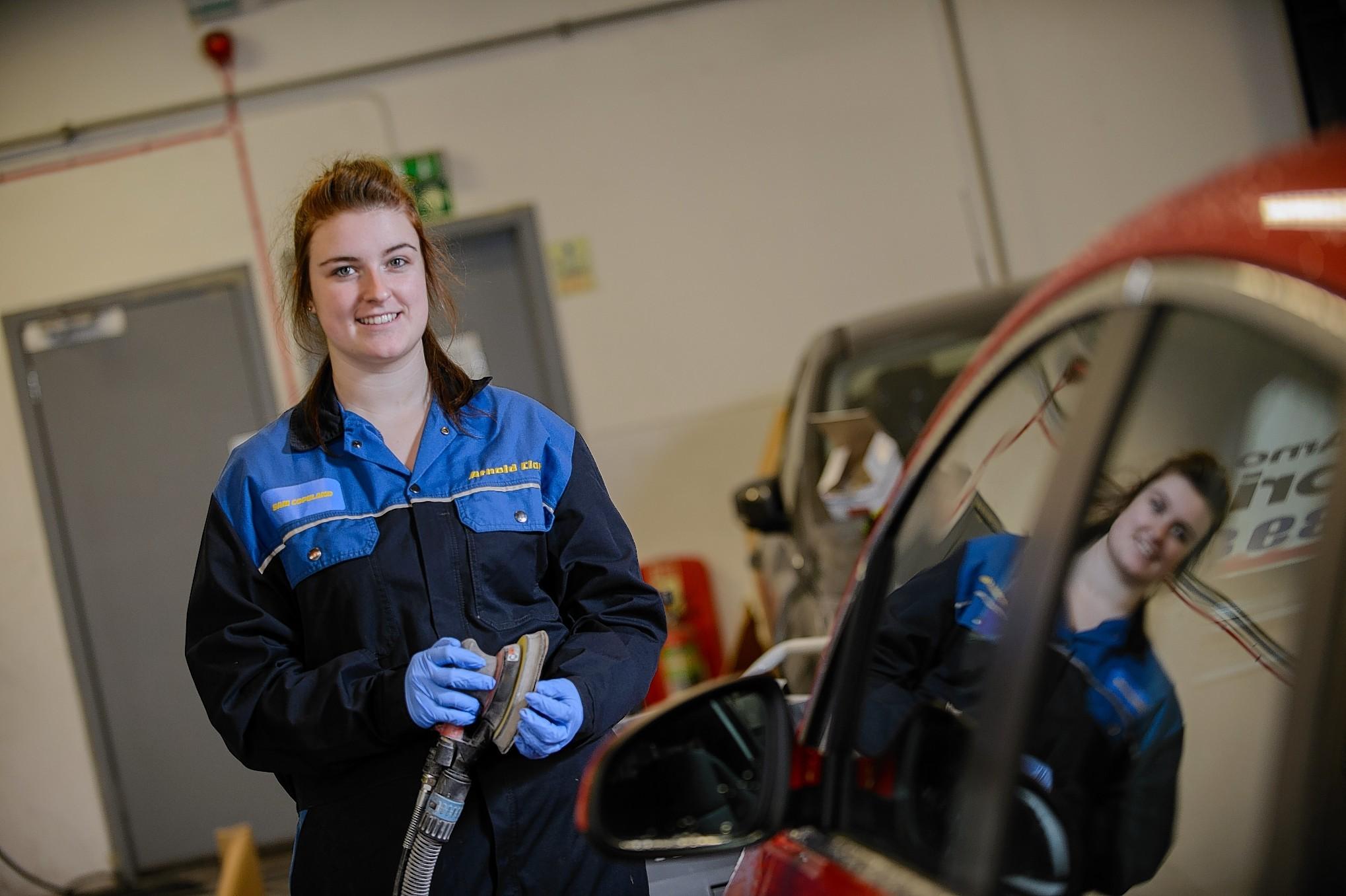 Samantha Copeland, an apprentice refinisher at Arnold Clark in Aberdeen