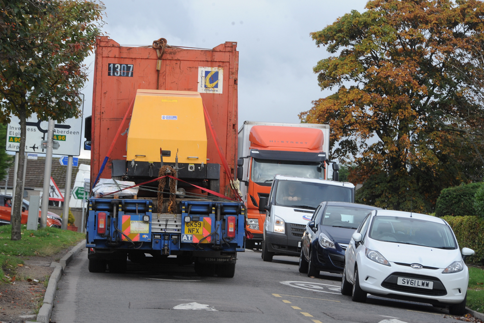 The Bucksburn road is frequently driven on by HGVs