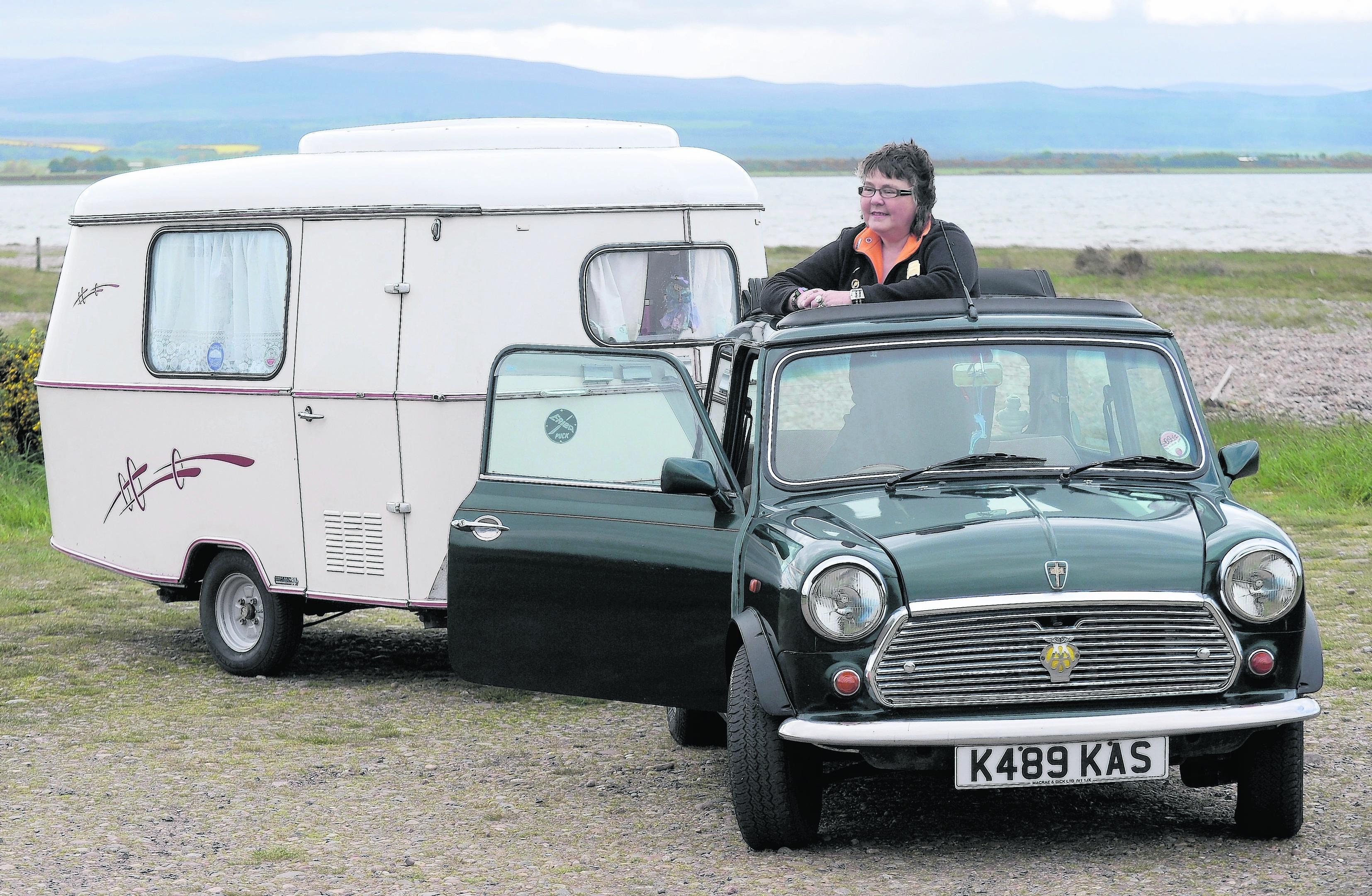 Kerrin Williams of Ardersier with her British Open Classic Mini towing a Eriba Puck caravan.