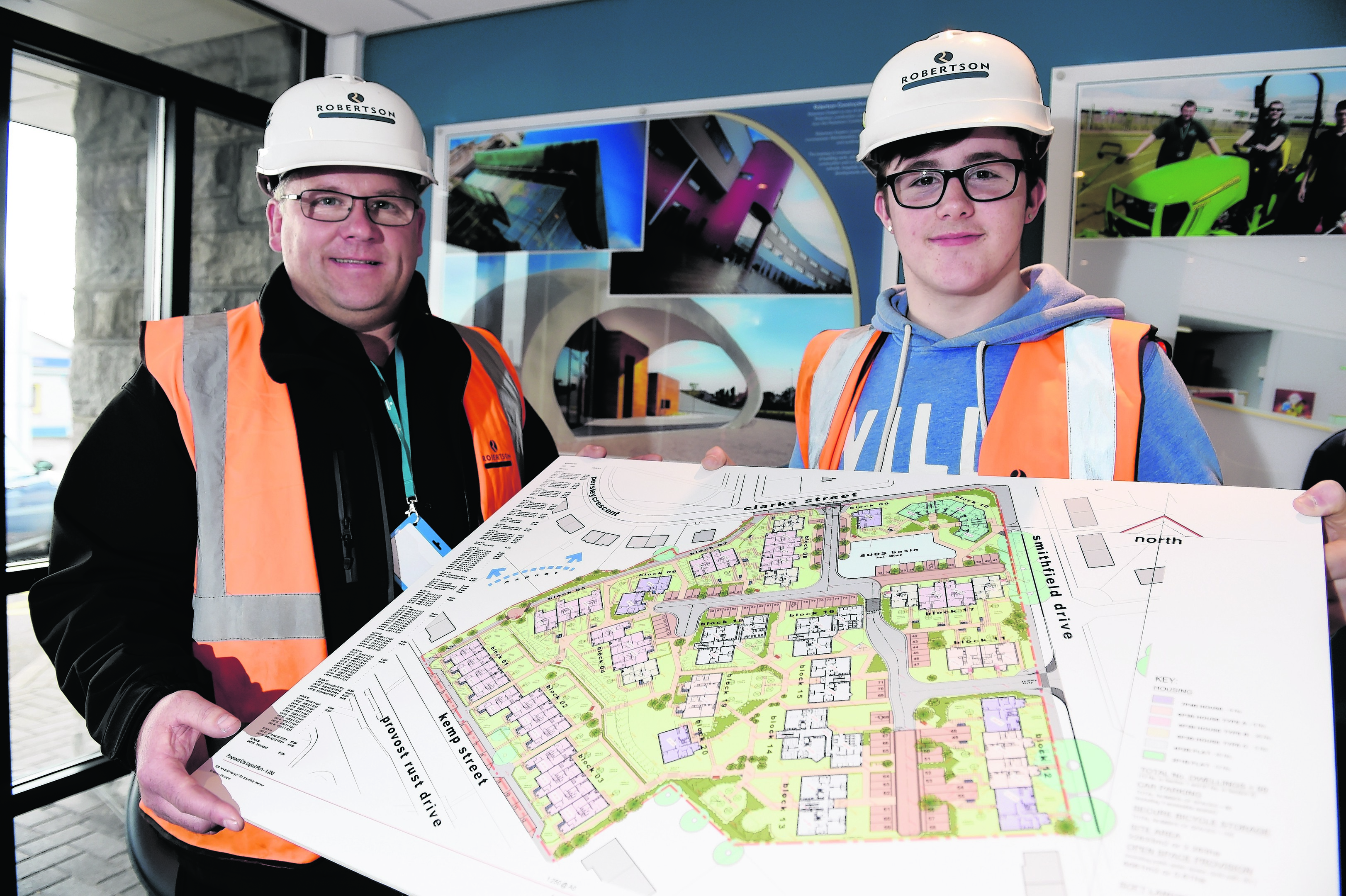 Apprentice 100 - Apprentice joiner Cameron McLeod at Robertson Group, and Steve Anderson (site manager) was an apprentice 25 years ago. Picture by KENNY ELRICK 10/11/2015