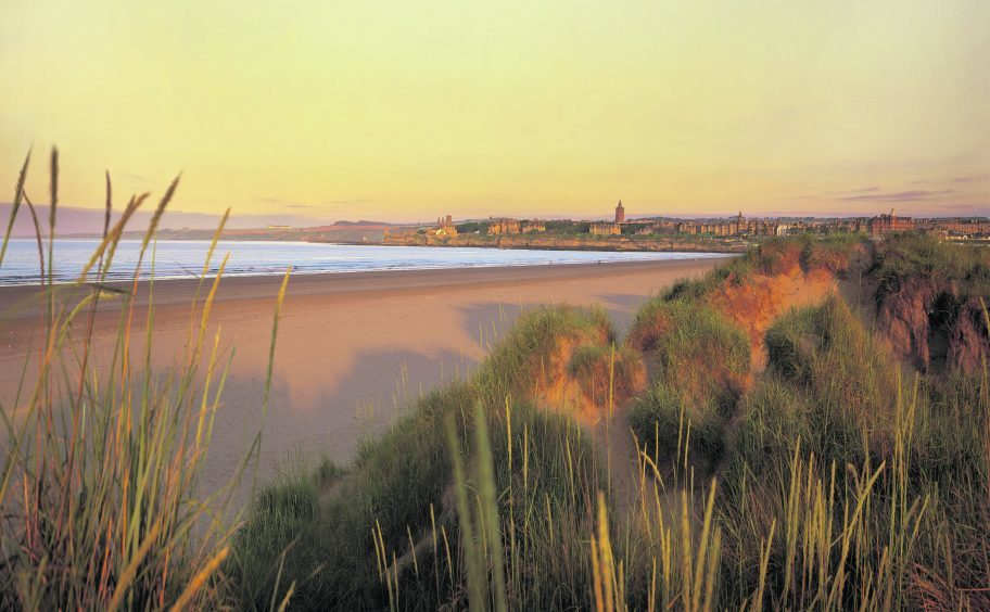 LOOKING FROM THE SAND DUNES OVER ST. ANDREWS WEST BEACH TO THE TOWN ITSELF, FIFE.