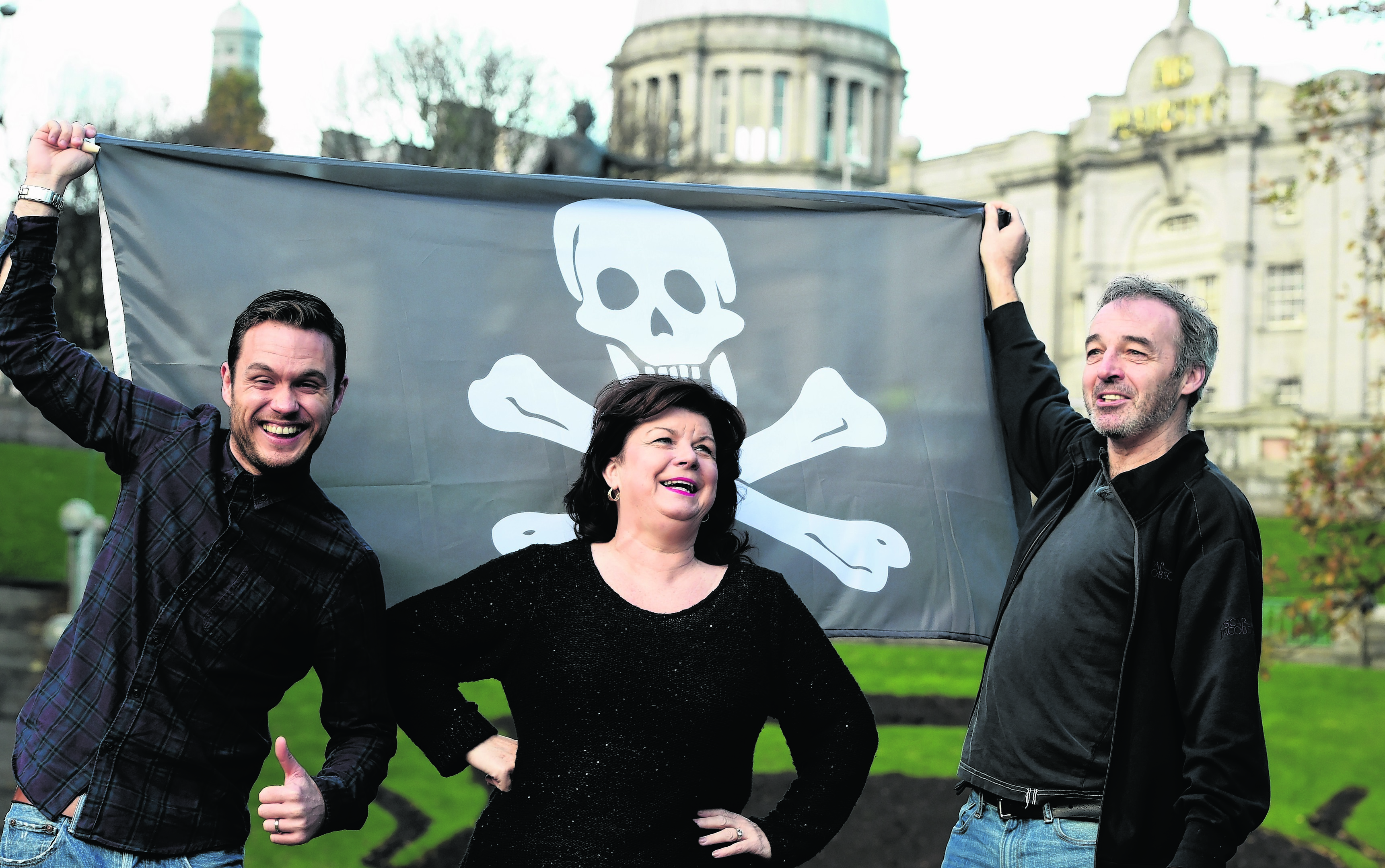 Panto stars, from left, Jordan Young, Elaine C. Smith and Alan McHugh outside HM Theatre in Aberdeen. Photos: Jim Irvine