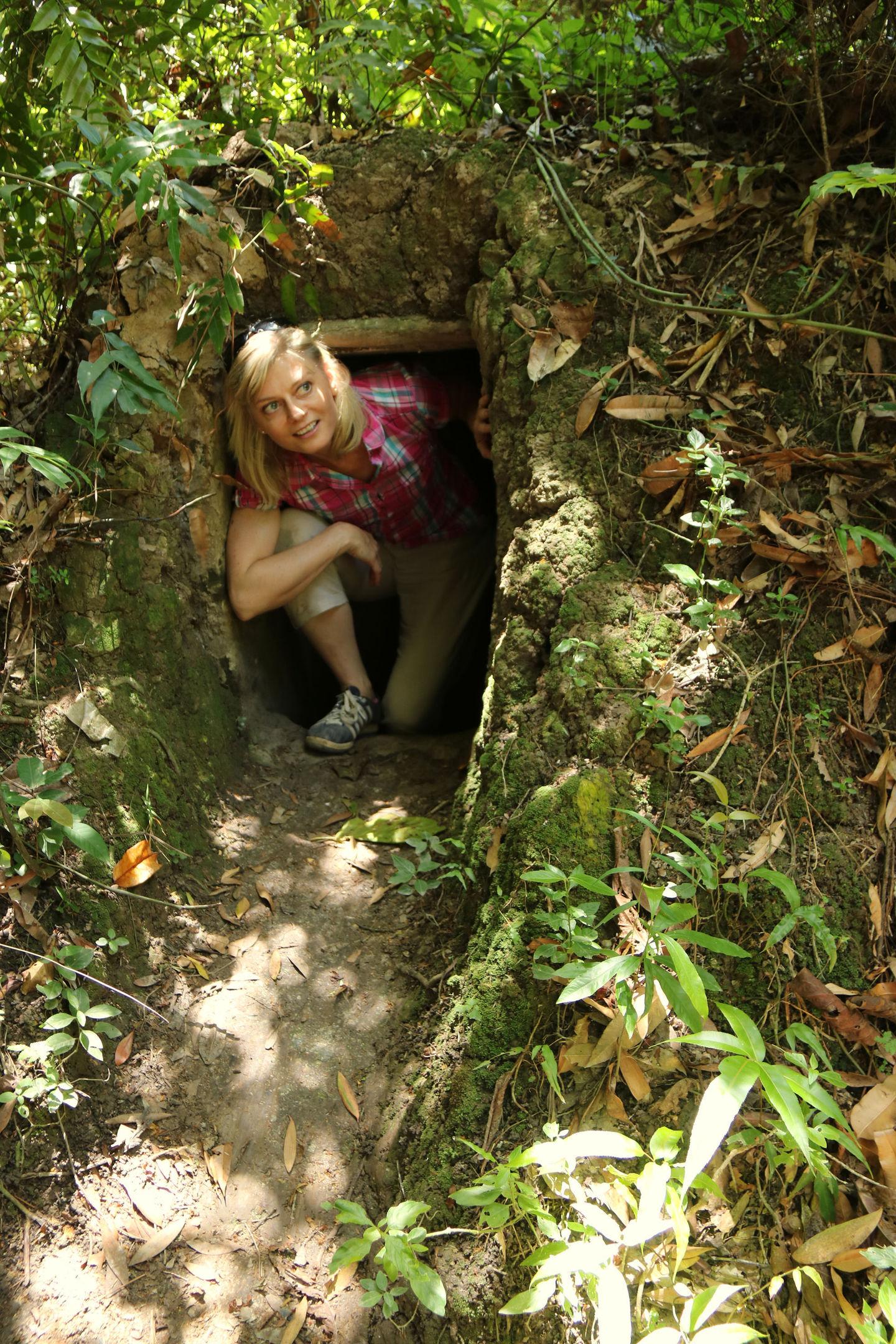 Karen Bowerman in a Viet Cong bunker