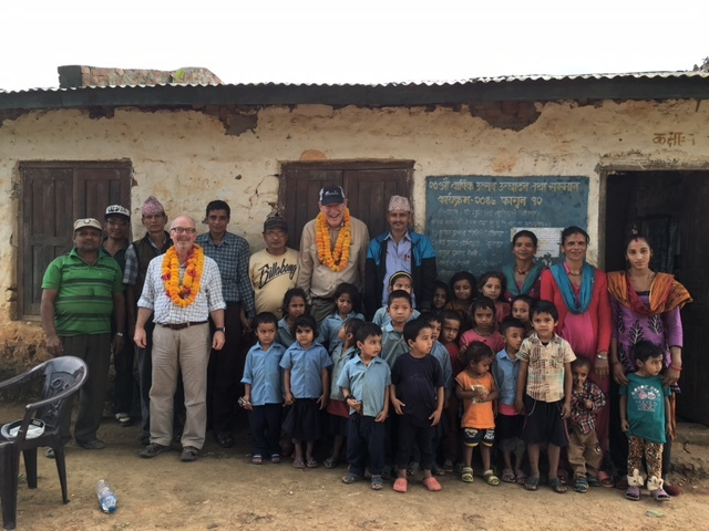 Aberdeen St Machar Rotary Club members Bruce Anderson and Rob Hughes at one of the schools they visited in Nepal.
