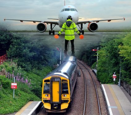 Picture montage: A new train station is planned for Inverness Airport