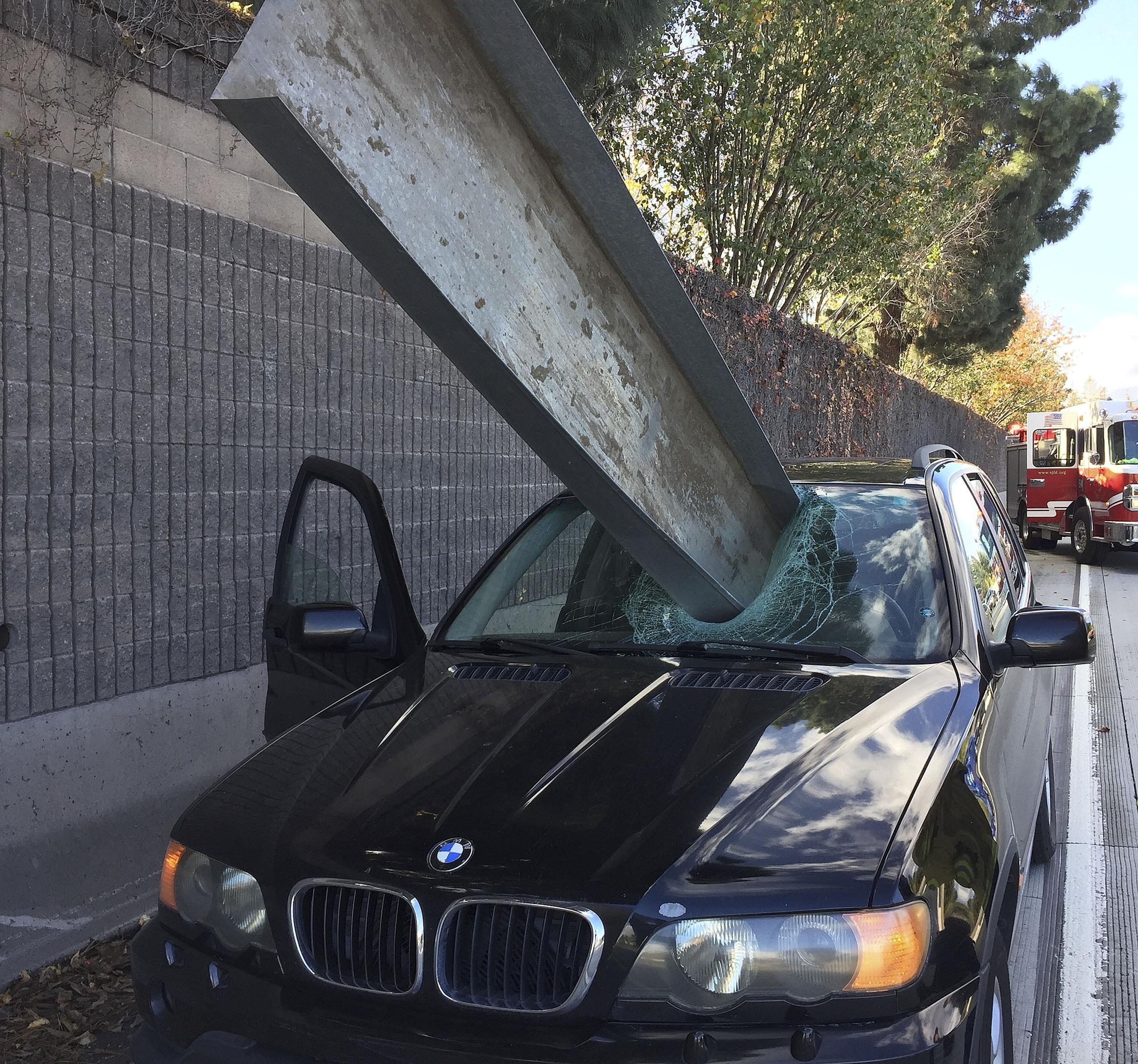 Don Lee's BMW impaled