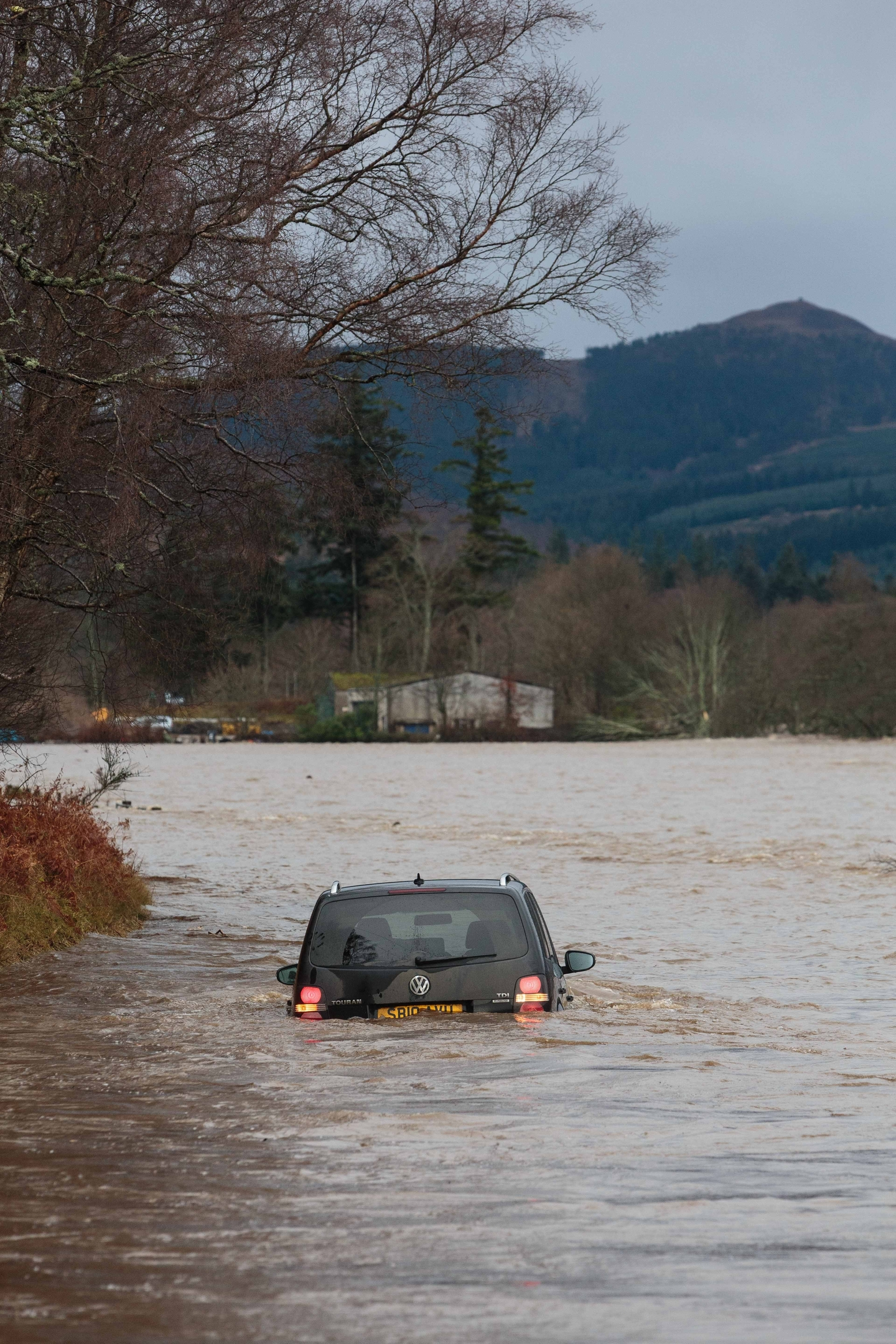 A car submerged near Ballater on the South Deeside Road