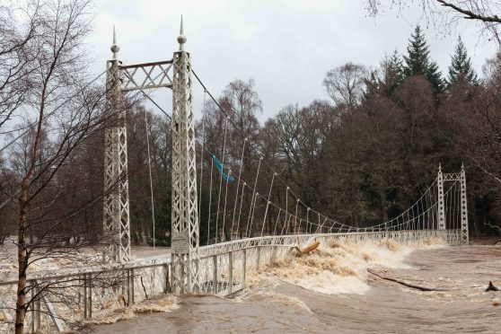 The Cambus O'May footbridge over the River Dee was severely damaged by Storm Frank.