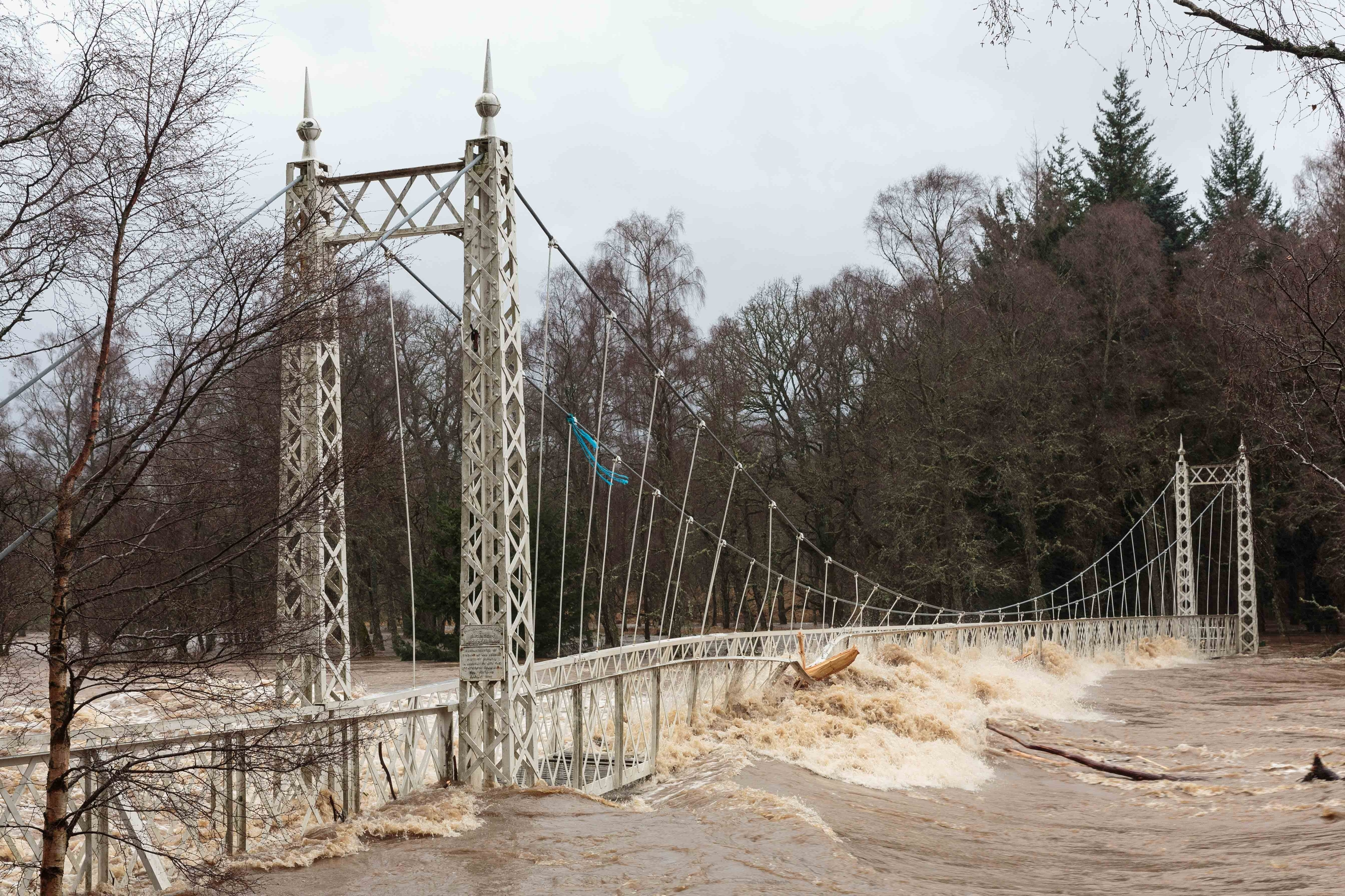 The Cambus O'May footbridge over the River Dee was severely damaged by Storm Frank in 2015