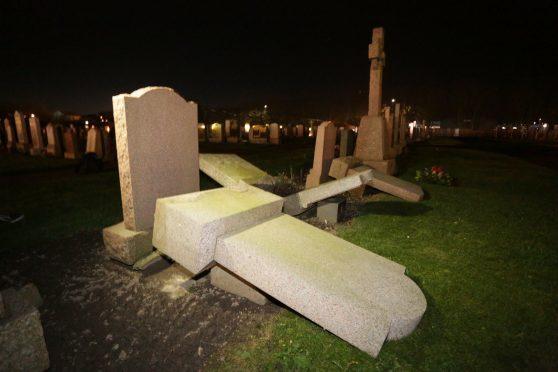 Vandalism at Balmoor Cemetery, Peterhead