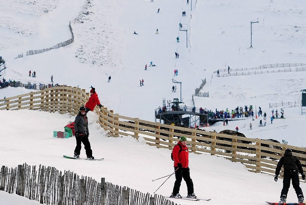 Skiers and snowboarders at the Cairn Gorm ski centre.  Picture by Sandy McCook.