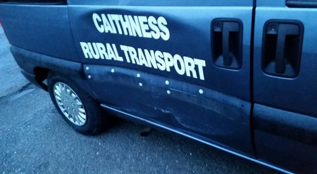 Damage to Caithness Rural Transport's bus