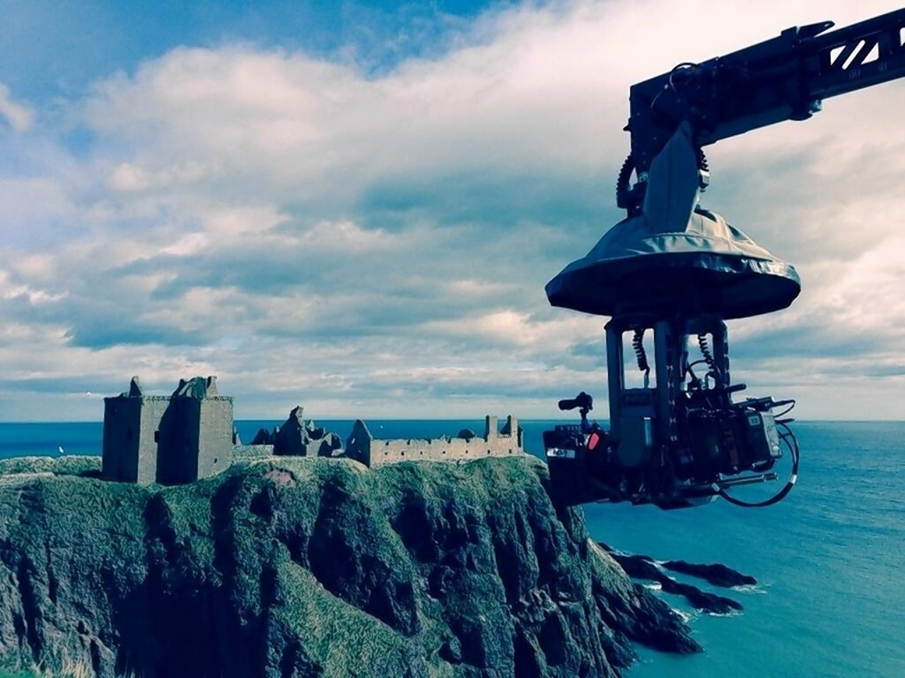 Picture from Paul McGuigan's Twitter feed showing filming for the Frankenstein remake at Dunnottar Castle