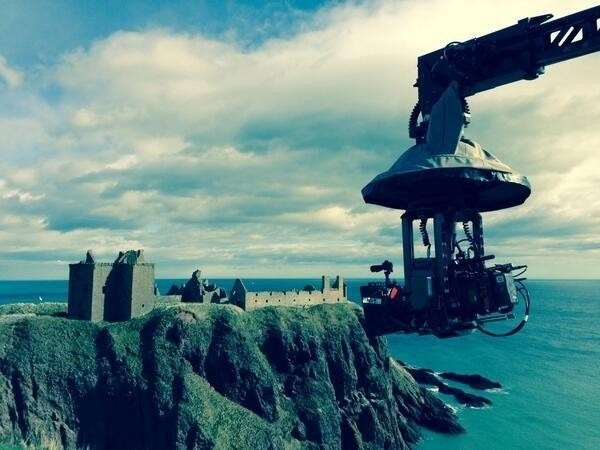 This is a pic posted on Twitter by director Paul McGuigan while filming at Dunnottar Castle