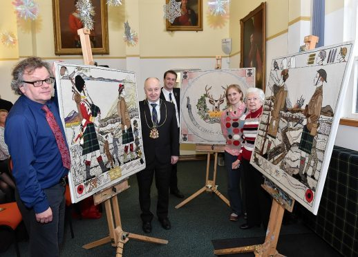Artist Andrew Crummy, Lord Provost Geoge Adam, Bryan Snelling, Chief Executive Gordon Highlanders, stitchers Anne Murray (from Huntly), Audrey Anderson (Aberdeen) and stitch co-ordinator Dorie Wilkie. Picture by Colin Rennie