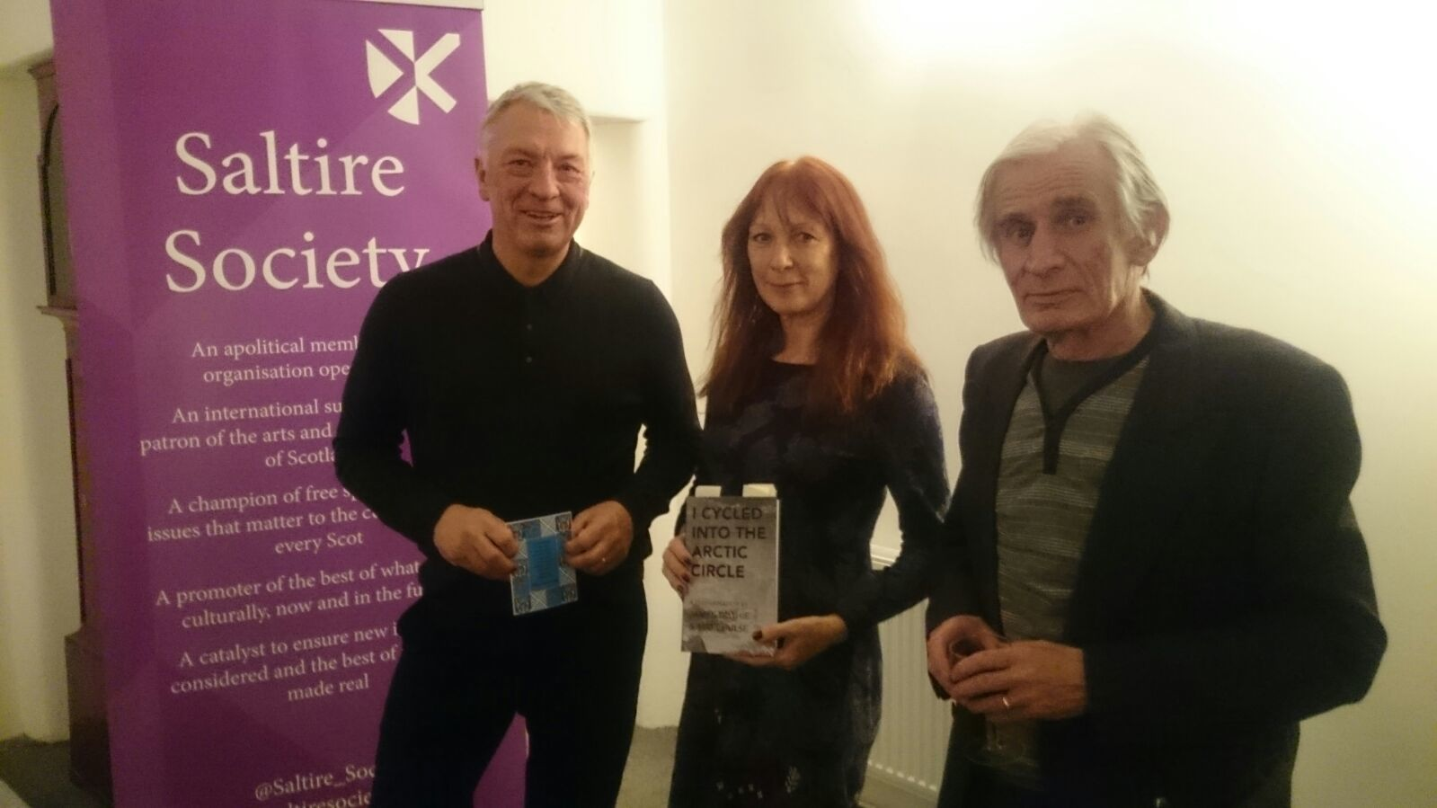 Saltire Society Executive Director Jim Tough, poetry read by Anna Tessier-Lavigne, Dummy Jim contributing poet John Mackie
