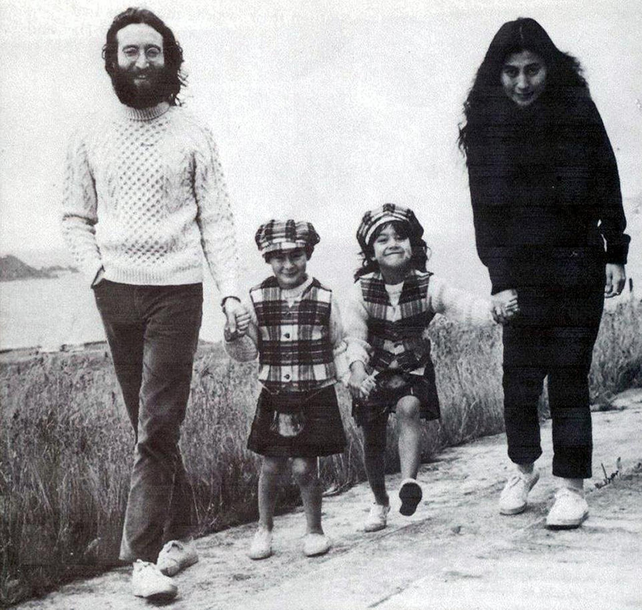 John Lennon, his son Julian, wife Yoko Ono and her daughter, Kyoko, in the village of Durness, Scotland, in 1969. The tiny village where The rock star spent his childhood holidays