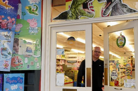 Eric Beattie, manager of Junner's Toy Shop in South Street, Elgin. Picture by Gordon Lennox