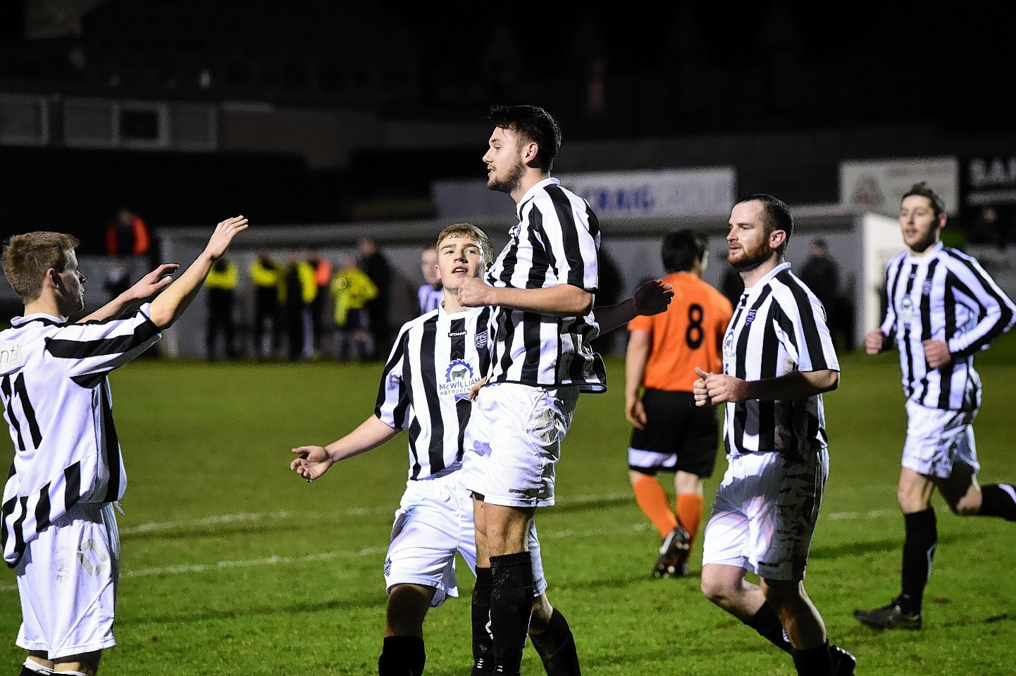 Fraserburgh's Steven Davidson celebrates finding the back of the net. Picture by Kami Thomson