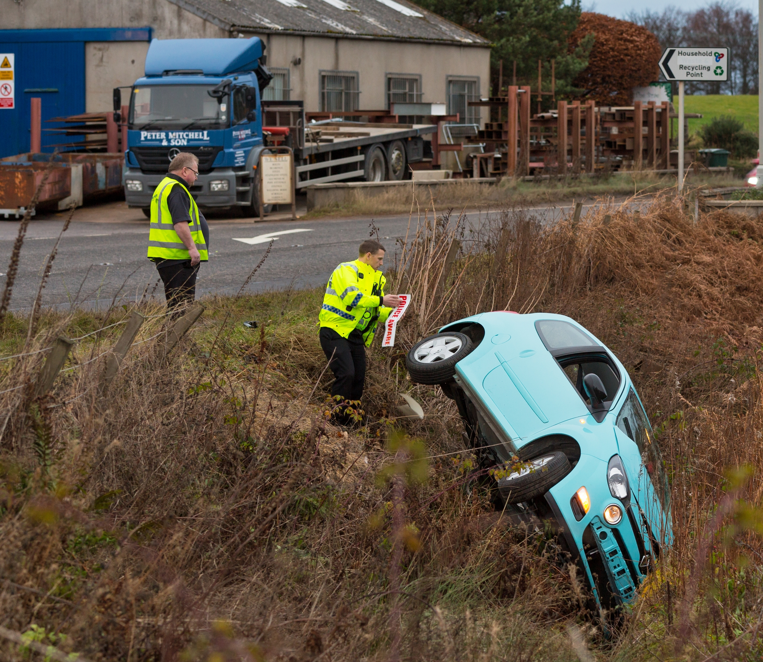 The scene of the crash in Moray
