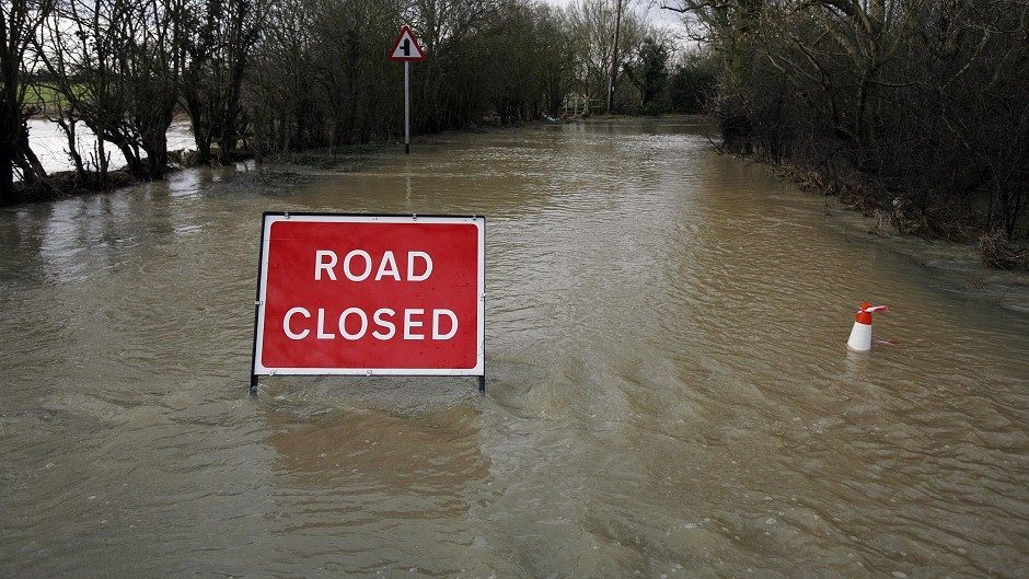 Road closed due to flood water