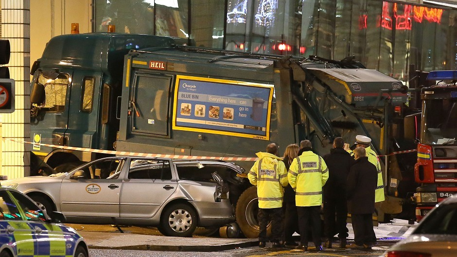 Six people were killed when the bin lorry went out of control in Glasgow's George Square last December