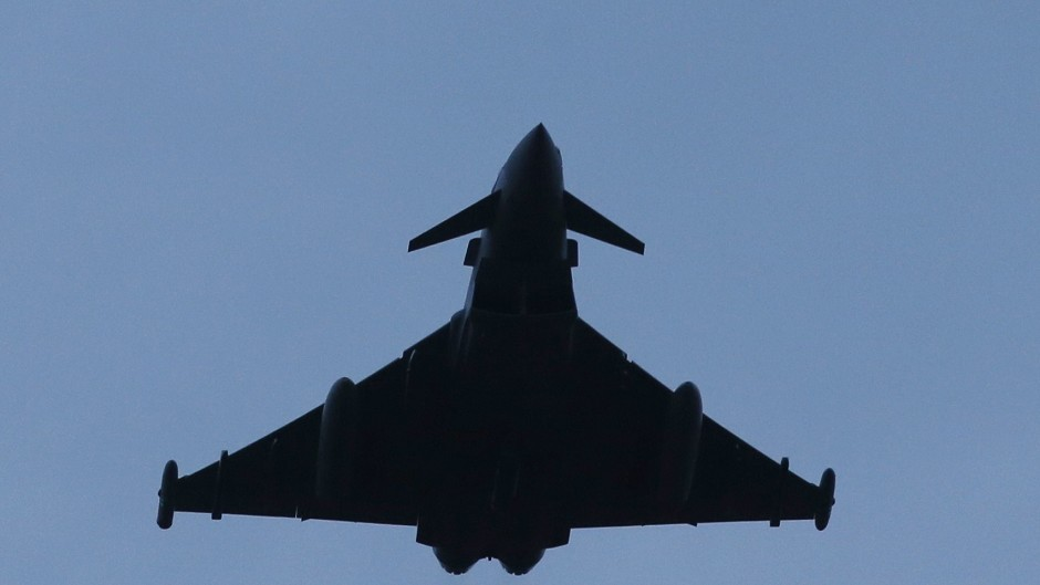 A Eurofighter Typhoon jet takes off from RAF Lossiemouth in Scotland heading for Syria.