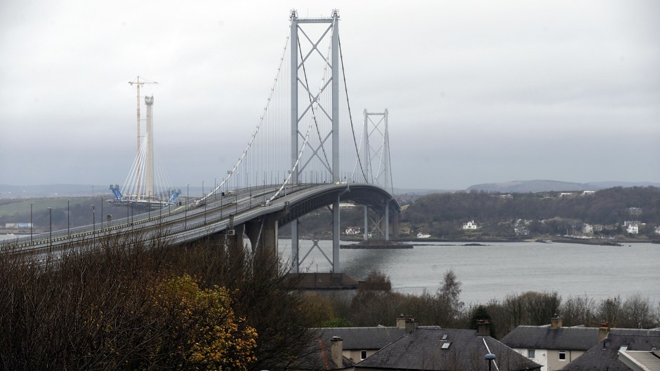 An empty Forth Road Bridge after it was closed to traffic