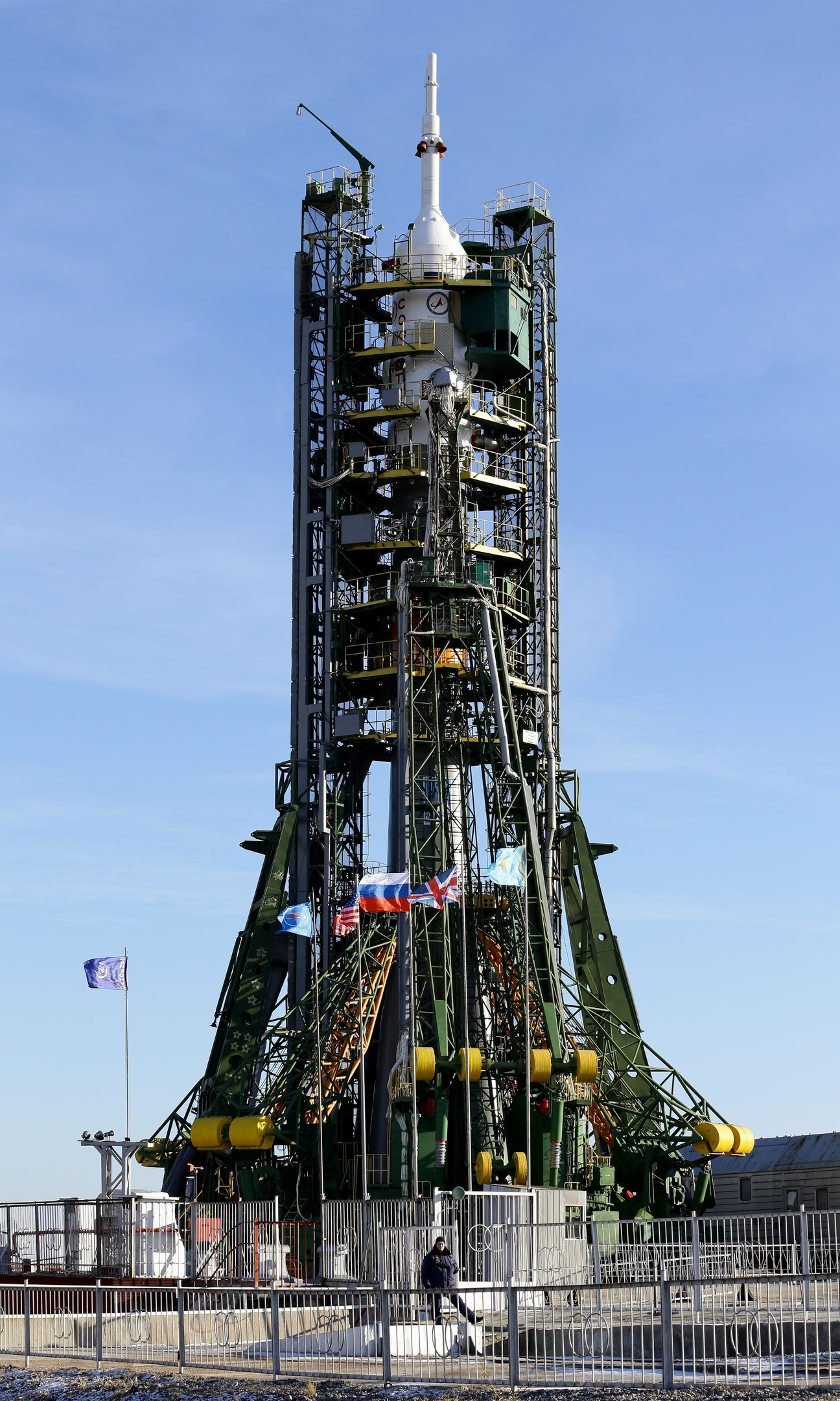The Soyuz FG rocket sits on the launch pad at Baikonur Cosmodrome in Kazakhstan,