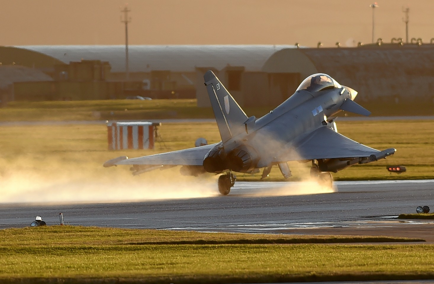 A Typhoon coming in to land at RAF Lossiemouth