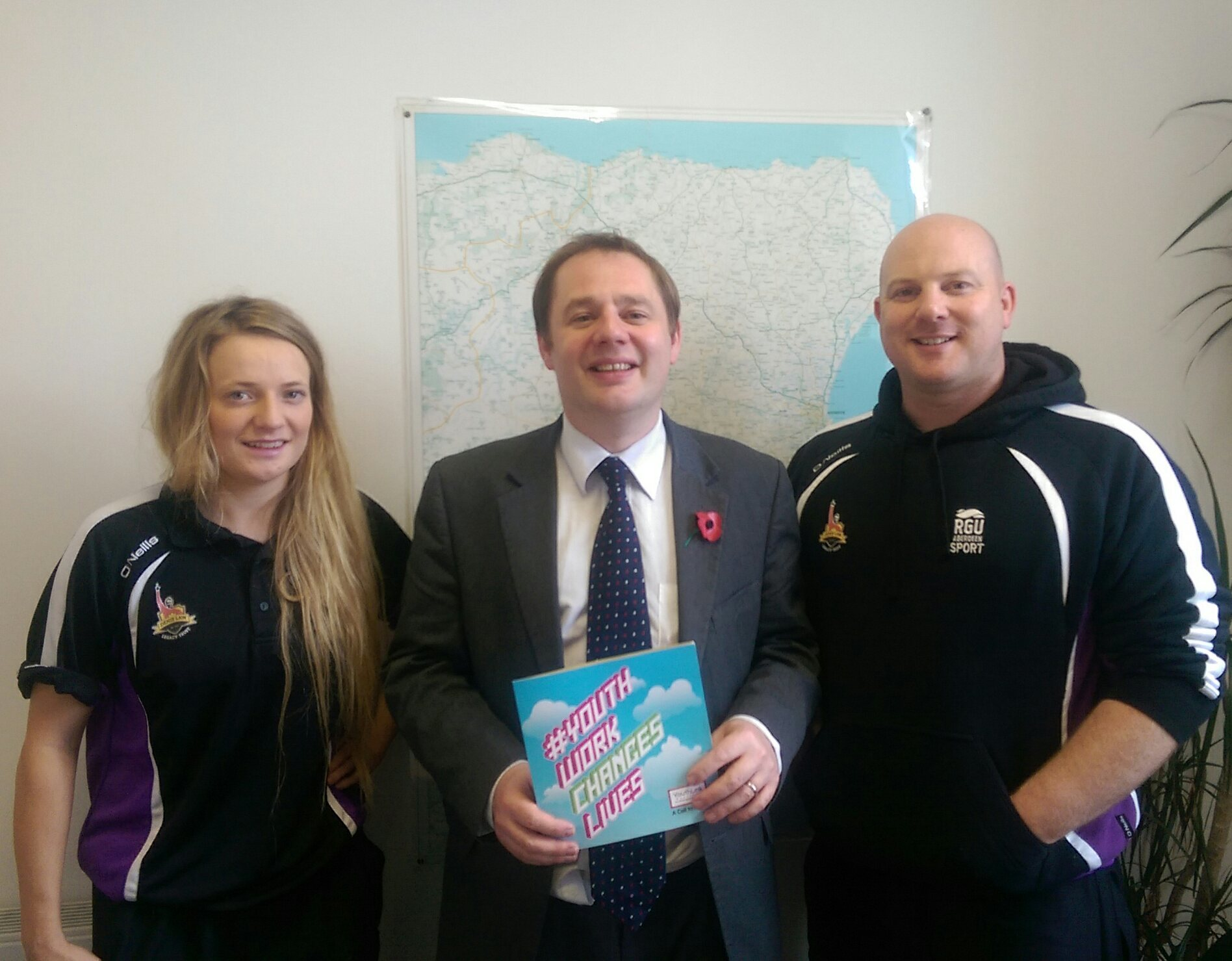 Streetsport's Mark Williams – Youth Worker/Development Officer and Hannah Clews – Young Person with Richard Baker