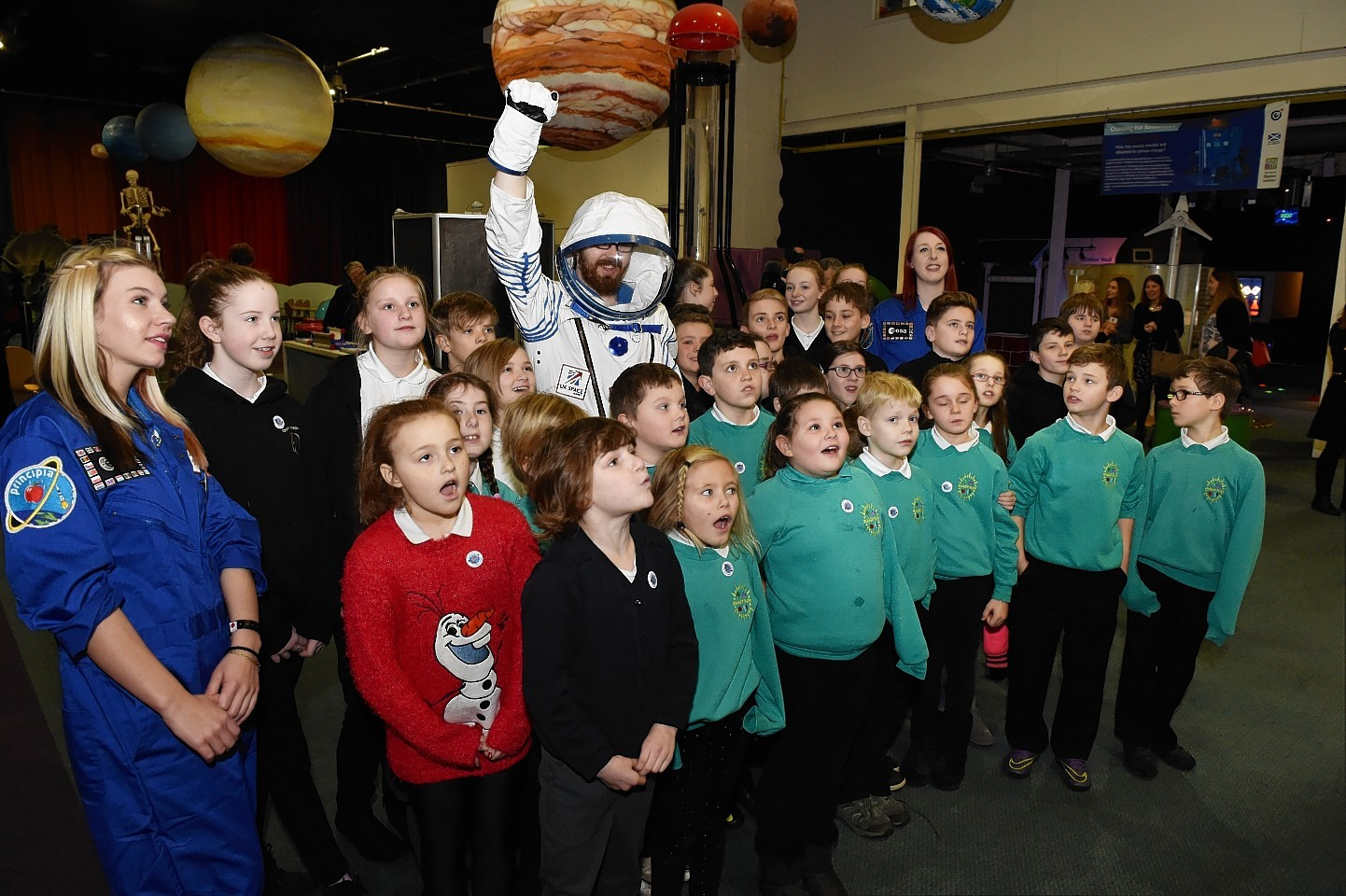 Children from Manor Park Primary and Dyce secondary at Aberdeen Science Centre, Satrosphere. Picture by Colin Rennie.