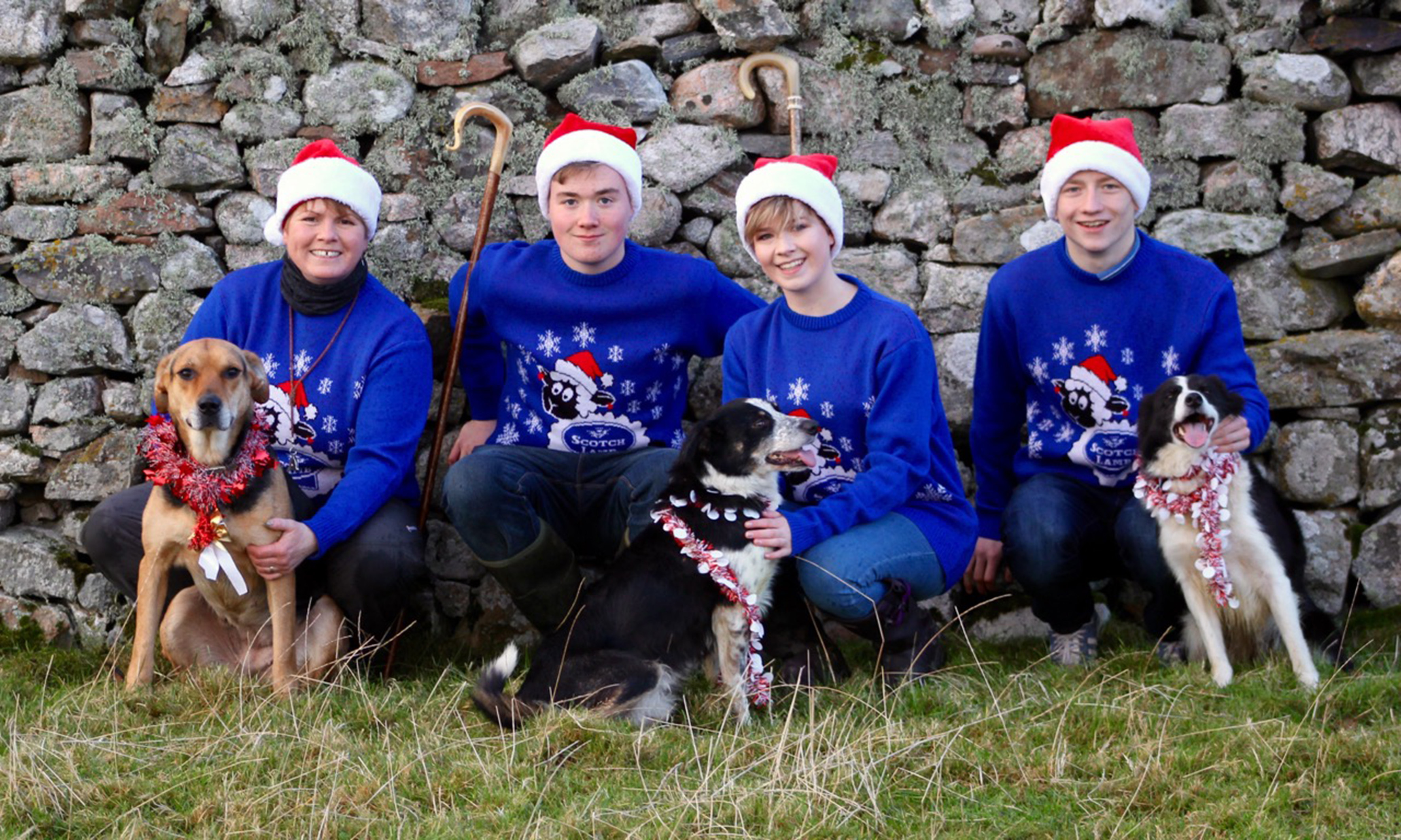 Joyce Campbell, Mure Grant, Frances Grant and Stephen Forbes with canine team members Jude, Sky and Meg.