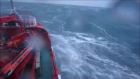 The Danish ship battles big waves in the North Sea