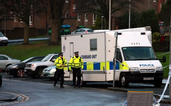 Police at the scene in Dundee