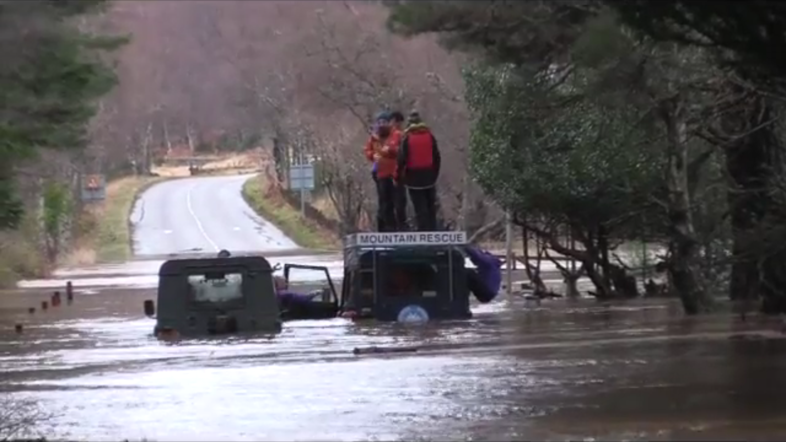 Mountain Rescue get stuck in Storm Frank floods