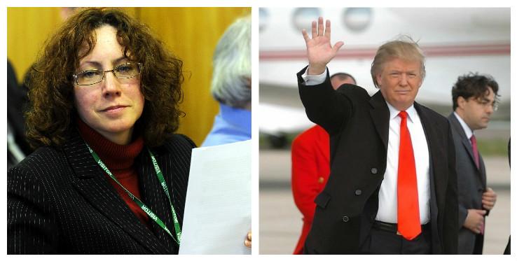 Suzanne Kelly (left) Donald Trump (right)
