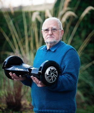 """Grandfather Bob Wilson of Craigellachie with the """"hoverboard"""" he bought"""