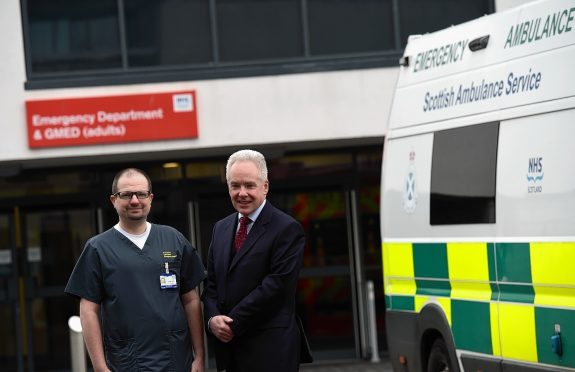 NHS Grampian Chief Executive Malcolm Wright (right) and Dr Roland Armes, Consultant at Aberdeen Royal Infirmary Emergency Department (Picture by Kami Thomson)