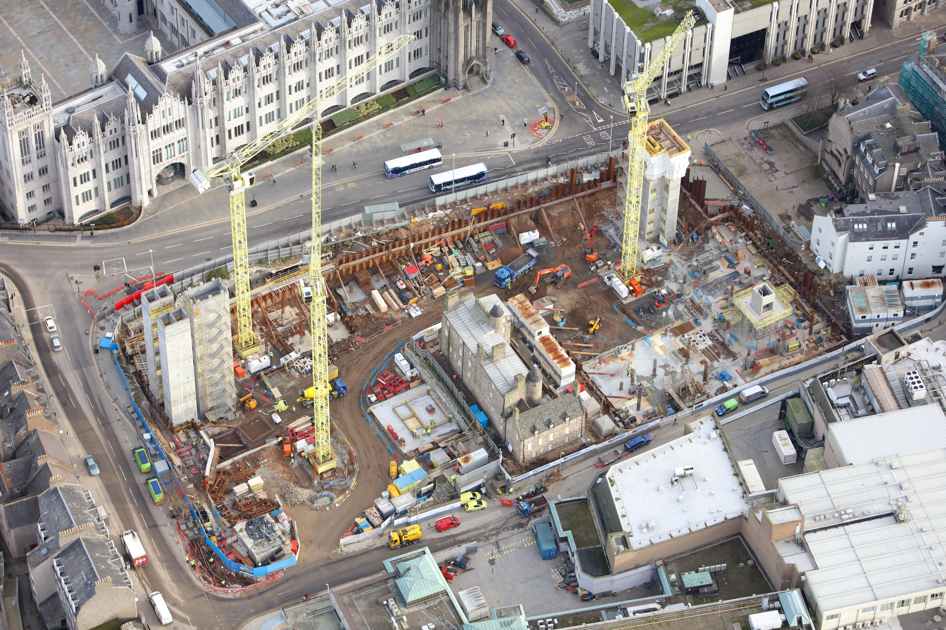 Developers have released this aerial shot of the Marischal Square site