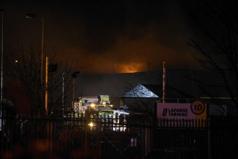 Fire crews dealing with the blaze at Arnold Clark in Aberdeen