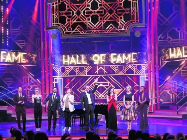 Undated BBC Handout Photo from Bruce's Hall of Fame with Alexander Armstrong. Pictured: Jamie Raven, Kimberley Wyatt, Adam Garcia, Catherine Tate, Alexander Armstrong, Shona McGarty, Katherine Ryan, Beverley Knight. See PA Feature TV Armstrong. Picture Credit should read: PA Photo/BBC/Pete Dadds. WARNING: This picture must only be used to accompany PA Feature TV Armstrong. WARNING: Use of this copyright image is subject to the terms of use of BBC Pictures' BBC Digital Picture Service. In particular, this image may only be published in print for editorial use during the publicity period (the weeks immediately leading up to and including the transmission week of the relevant programme or event and three review weeks following) for the purpose of publicising the programme, person or service pictured and provided the BBC and the copyright holder in the caption are credited. Any use of this image on the internet and other online communication services will require a separate prior agreement with BBC Pictures. For any other purpose whatsoever, including advertising and commercial prior written approval from the copyright holder will be required.