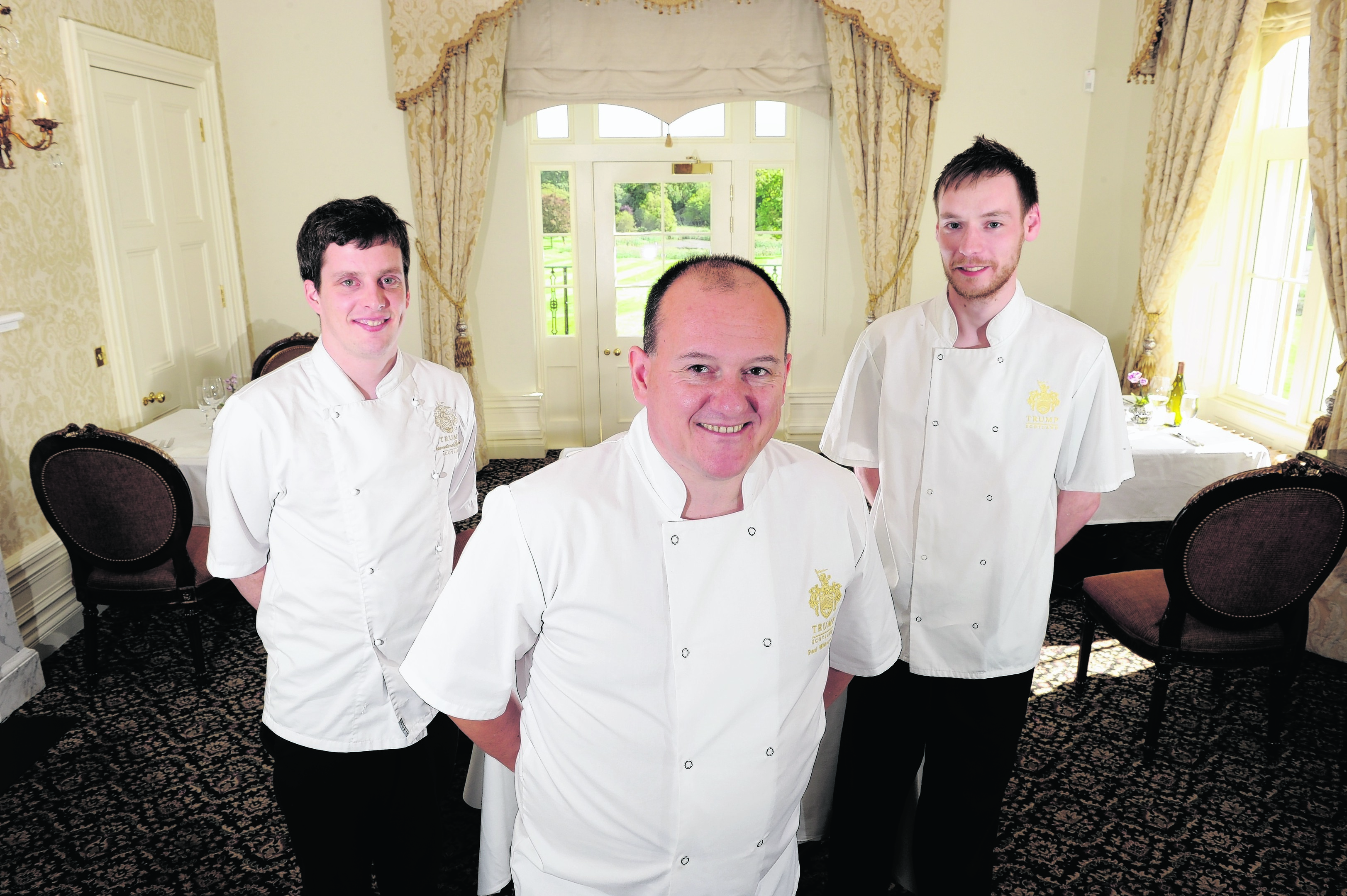 Trump International Golf Links Head Chef Paul Whitecross (centre) with chefs Tom Christie (left) and Blair Goodsir