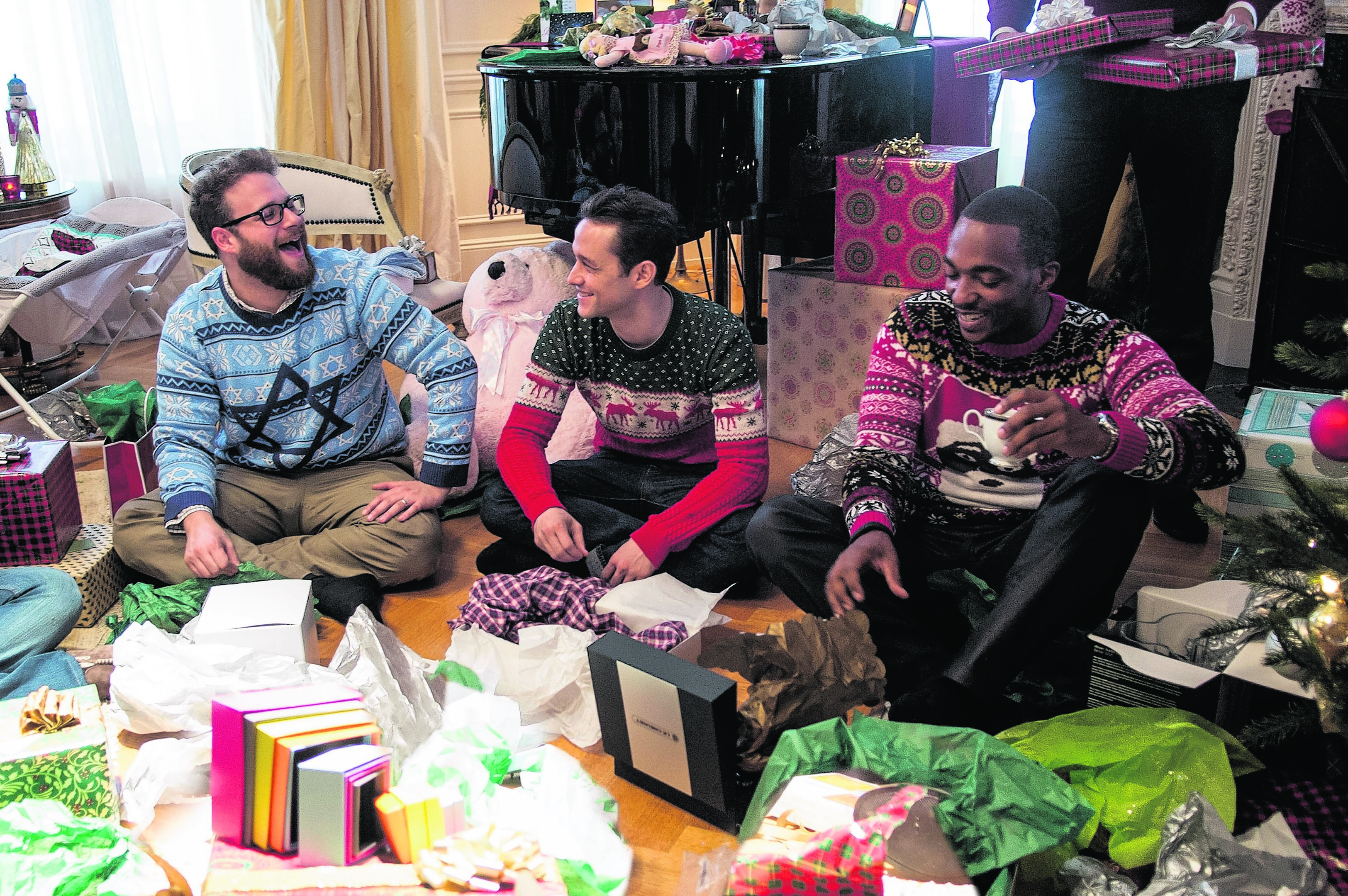 From left:  Seth Rogen, Joseph Gordon-Levitt and Anthony Mackie in The Night Before