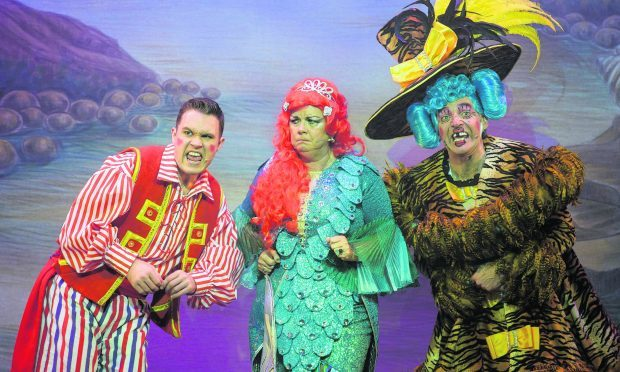 Jordan Young, left, as Smee, Elaine C. Smith as The Magical Mermaid and Alan McHugh as Dame Maggie Celeste.