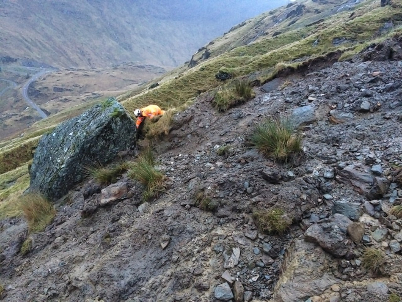 The boulder balancing over the A83
