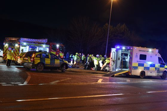 Emergency services at the scene of the A96 crash